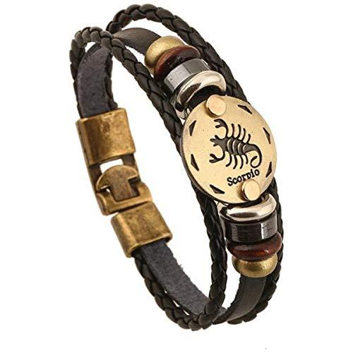 Longyangqk Sternbild Armband, 12 Zodiac Leder verstellbare Charm Armband Armband Geschenke für Frauen Männer (Skorpion)