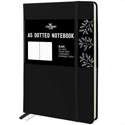 Stationery Island A5 Dotted Notizbuch – Schwarz. Hardcover Bullet Journal Buch Kariert Mit 180 Seiten Und Premium 120gsm Papier. Für Notizen, Planung, Reisen, Tagebuch schreiben Und Projekte