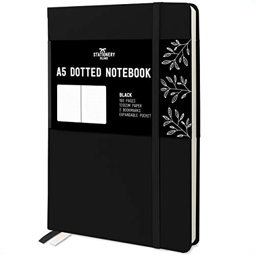 Stationery Island Quaderno Puntinato A5 – Nera. Bullet Journal Con Copertina Rigida, 180 Pagine e Carta Premium 120gsm