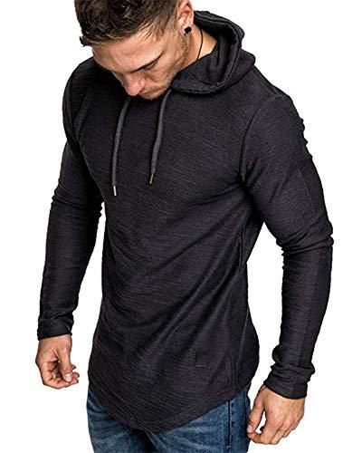 THWEI Mens Athletic Hoodies Sport Sweatshirt Long Sleeve Tops Solid Color Pullover Shirt Long Sleeve Tops(Black,2XL)