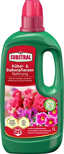 Substral Balkon und Kübelpflanzen Nahrung, Qualitäts-Flüssigdünger für alle Blühpflanzen auf Balkon, Terrasse und Beet mit natürlichen Biostimulanzien, 1 Liter
