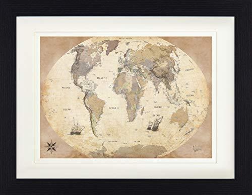 1art1 Karten - Weltkarte, Old Style, In Englisch Gerahmtes Bild Mit Edlem Passepartout | Wand-Bilder | Kunstdruck Poster Im Bilderrahmen 40 x 30 cm