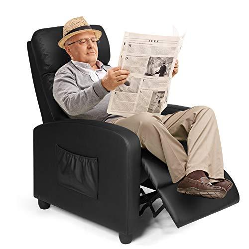 COSTWAY Relaxsessel mit verstellbaren Rückenlehne und Fußteil, Fernsehsessel Liegesessel Wohnzimmer TV Sessel 68x72x100cm (Schwarz)