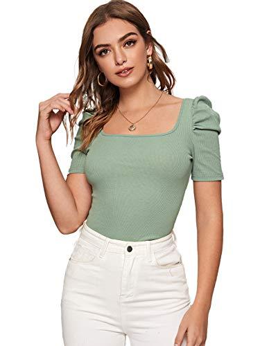 DIDK Damen Strickshirt Langarmshirt Elegant Tops Pullover T-Shirt mit Puffärmeln Shirts Oberteile Einfarbig Pulli Casual Tunika Basic Top Grün#2 S