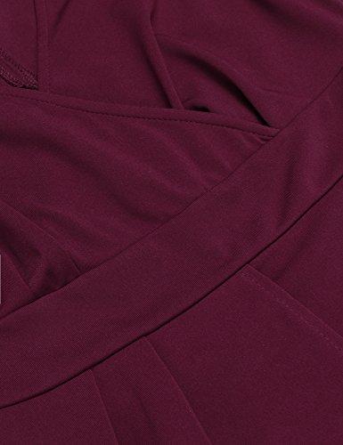 Damen Etuikleid V-Ausschnitt Wickelkleid Bleistiftkleid Ärmellos Knielang Bodycon Kleid Business Kleid mit Rüschen Weinrot - 5
