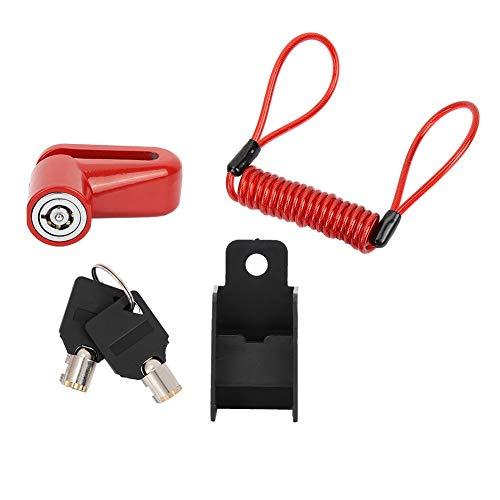 Cerradura De Freno De Disco Profesional, Rueda Antirrobo Frenos De Disco con Cable para Xiaomi Mijia M365 Scooter Eléctrico-Rojo