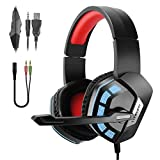 JAMSWALL Gaming Headsets für PS4 Xbox One PC Laptop, 3,5 mm Stereo Gaming Kopfhörer, Over-Ear Surround Sound Kopfhörer, Lautstärkeregler Headset mit Noise Cancelling Mikrofon