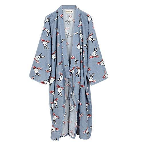 Fancy Pumpkin Bata de algodón JaponesaBata de Pijama Kimono [Flor C] para L Gray001