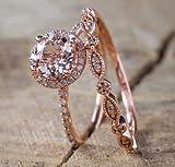 QIAOYING 2PCS Rings 18K Rose Gold Morganite& White Topaz Ring Set Women Wedding Bridal (9)