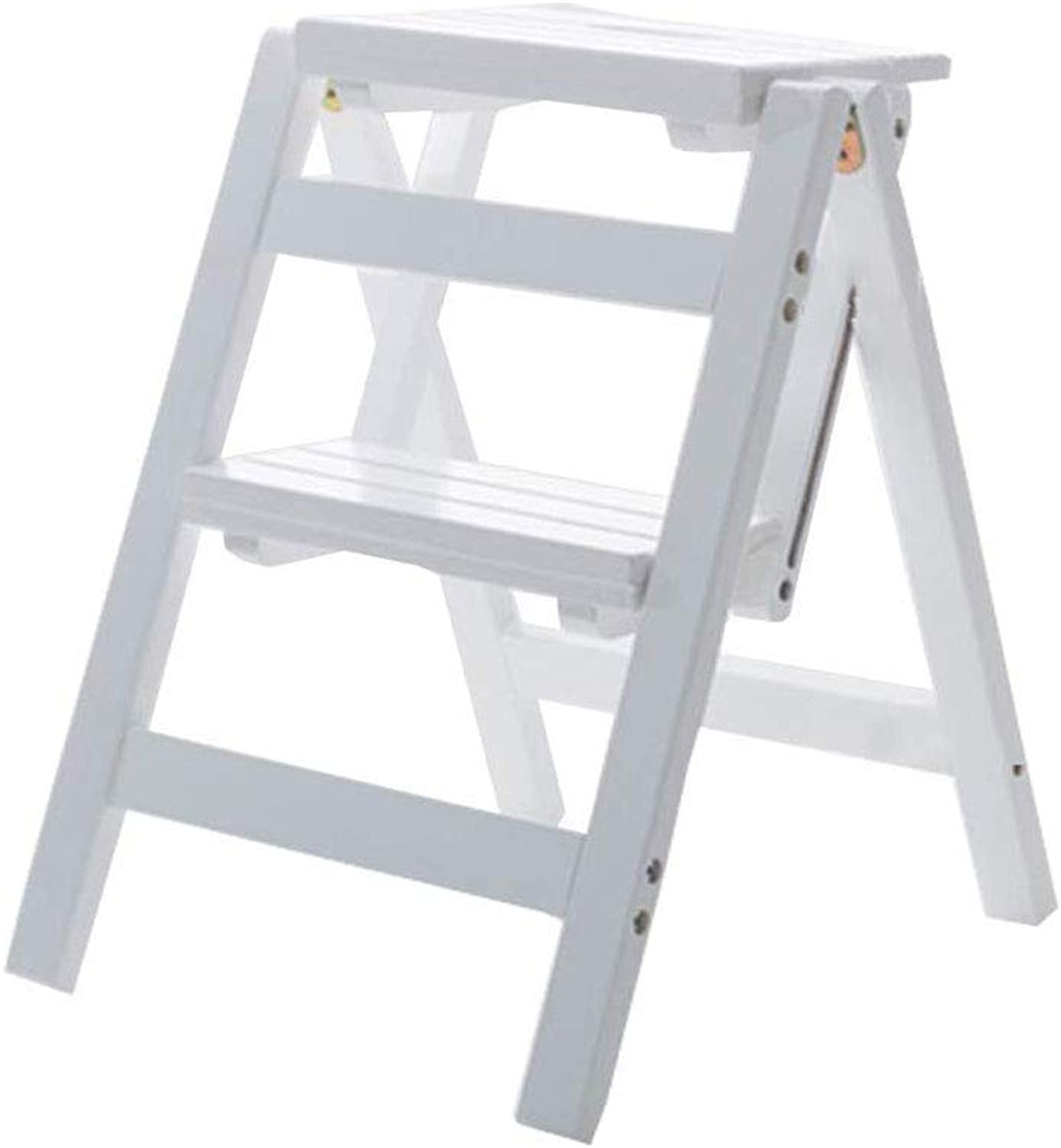 2 Step Folding Stepladder Stairway Chair Wooden Multifunction Foldable Ladder Stool Home Library Climb Ladder,White