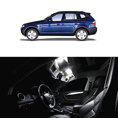 WLJH Lot de 13 ampoules à puce 2835 6000 K Blanc pur Super lumineuses Canbus sans erreur pour intérieur de voiture X3 E83 2004-2010