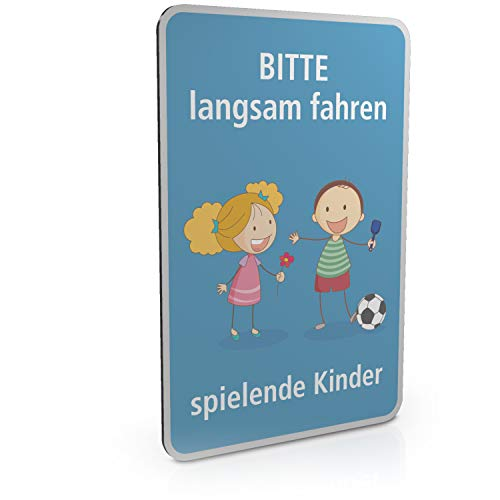 Betriebsausstattung24® Hinweisschild für Spielstraßen/verkehrsberuhigte Straßen | Spielende Kinder | 2mm (20,0 x 30,0 cm, Bitte langsam Fahren - spielende Kinder)