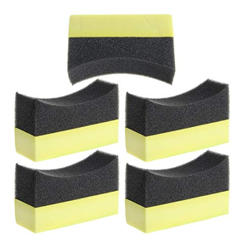 LNIEGE - 5 esponjas de Goma Profesionales para Coche, Lavadora, Material para neumáticos, Espuma, Esponja Curvada, Negro + Amarillo