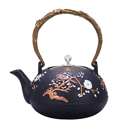 Hecho a mano Japón Retro Teteras De Hierro Fundido 1200ML, Arrabio Tetera Antióxido Interior Totalmente Esmaltado, para Cocina de gas estufa y Té suelto o bolsitas de té