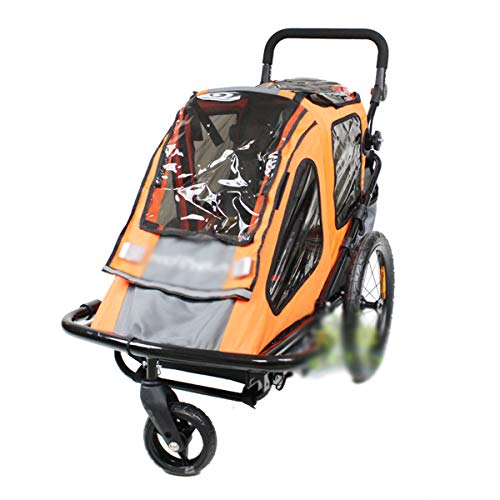OLMME Kinderfahrradanhänger Jogger Travel Buggy 2-in-1-Kinderanhänger 1-sitziger Zusammenklappbarer Fahrradanhänger Multifunktions-Transportwagen (orange)