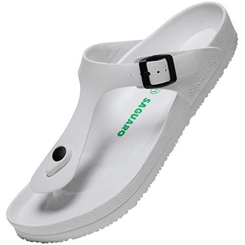Chaussons de Jardin Mixte Pantoufles de Plage Tongs Poids Léger été Flip Flop Piscine Adulte Sabots Antidérapantes Chaussures de Bains, Slipper Blanc 48 EU