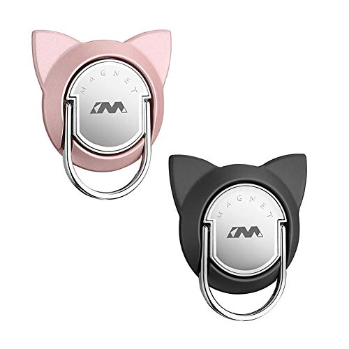 Cat Finger Phone Holder Durable, Phone Cat Ring for Magnet Car Mount, Ring Holder Compatible for iPhone XS/XS Max/XR and other Phones (2 Pack, Black/Rose Gold)