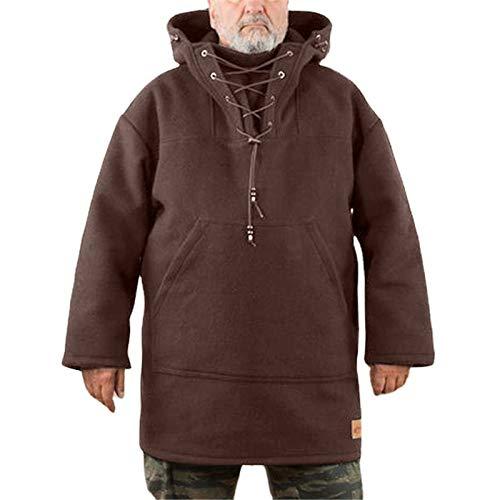Men's Wool Heavy Coat, Winter Thicken Warm Fleece Waterproof & Windproof Leisure Jacket, Coat Outwear Pullover Jacket with a Kangaroo Pocket Brown 4XL