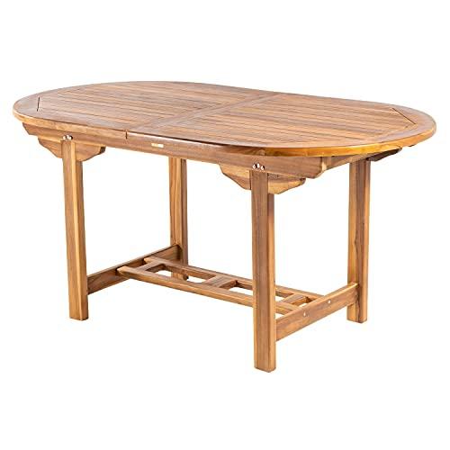 Mesa de jardín Extensible 160/210 cm de Madera Teca, Madera Teca Grado A, Ovalada, Tamaño: 160/210x90x77 cm, Tratamiento al Agua aplicado