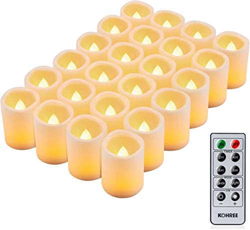 Kohree 24 x LED Candles with Timer Remote Controlled Battery Operated adjustable brightness Realistic Bright Flickering Flameless LED Tea Lights Decoration for valentine Easter Wedding Valentine's Day