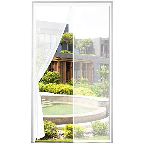 2021 Nueva Mosquitera Puerta Magnetica Corredera, Cortina Mosquiteras Magnética para Puertas Abatible Balcón Puerta Corredera de Patio, Fácil instalación, Blanca, 90x210 cm