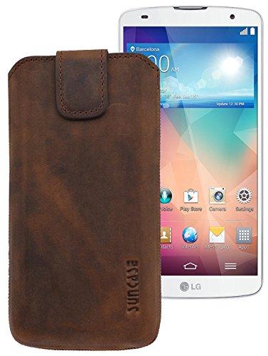 Suncase ECHT-LEDER Tasche Etui für LG G Flex / LG G Pro 2 (mit Rückzugsfunktion, Magnetverschluss) antik-coffee