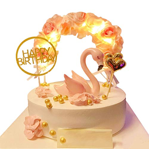 Riverbyland Flamingo Cake Toppers Kit Kids Girls Birthday Party Supplies Set of 6