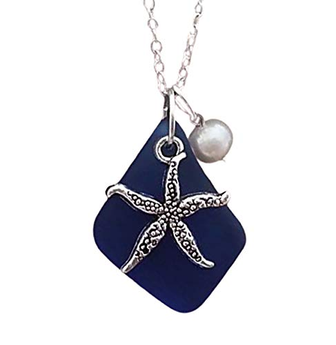 Handmade in Hawaii, cobalt sea glass necklace, starfish charm, Freshwater pearl,'September Birthstone',(Hawaii Gift Wrapped, Customizable Gift Message)