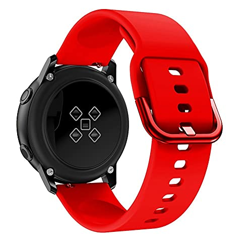 Pulsera de reloj de 20 mm for Samsung Galaxy Watch 4 Classic 42mm 46mm Gear Sport Muñeca Pulsera WatchBand Samsung Active 2 40mm 44mm banda (Band Color : Red, Band Width : Galaxy active 2)