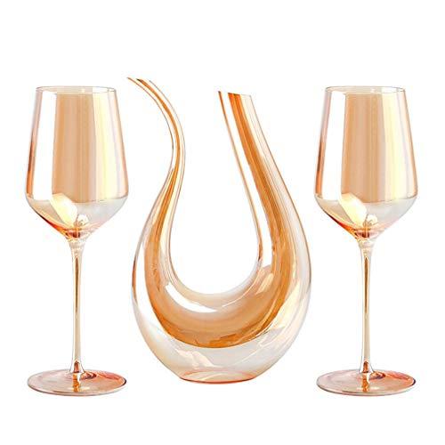 LHLJ Wine Decer - Juego de Vasos de Cristal de 750 ml y 2 Vasos de Cristal soplado a Mano sin Plomo, Vino Tinto y Blanco, para Cualquier ocasión, Gran Regalo, Juego de 3, 18 oz