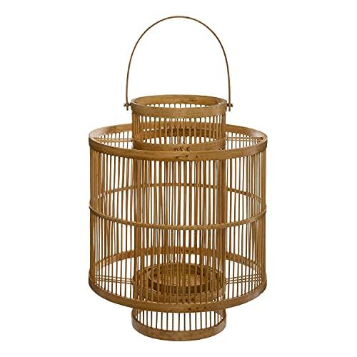 Générique Lanterne Bambou Double Cylindre Nature 34CM
