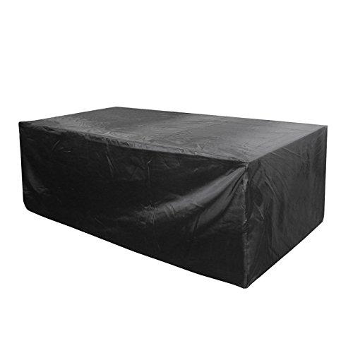 Cosanter 1pcs Housse de Protection Salon de Jardin rectangulaire Couverture Ignifuge imperméable Anti-poussière antisolaire Noir 270 x 180 x 89 cm
