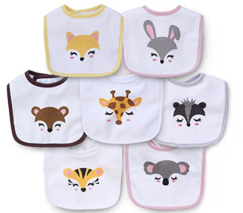 7 Pack Cotton Terry Waterproof Baby Bibs with Snaps for Girl Boy Unisex, Drool,Eating and Teething Bibs