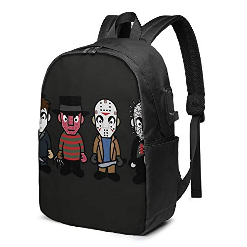 BGDFN Mochila USB de viaje de moda para asesinos en serie, de 17 pulgadas, mochila para estudiantes, mochila informal de senderismo