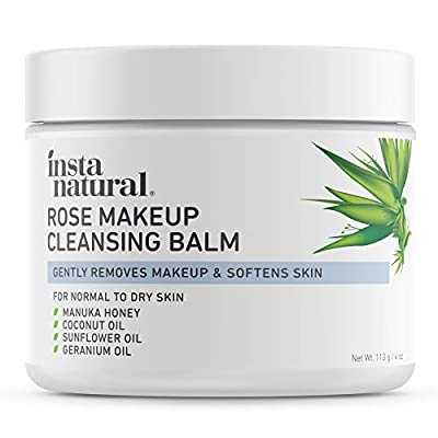 Rose Cleansing Balm - Natural Facial Cleanser & Makeup Remover with Coconut Oil and Manuka Honey - Instantly Removes Waterproof Mascara & Face Makeup - Gently Double Cleanse and Purify Skin