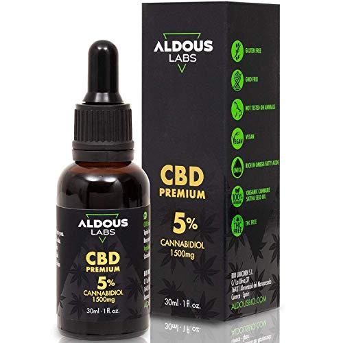 Autentico olio CBD 5% | Olio di canapa biologico arricchito con 5% di CBD | 30ml - 1200 gocce di olio premium CBD | Aiuta a ridurre lo stress, l'ansia e il dolore | 1500mg di Cannabidiolo | 0% di THC
