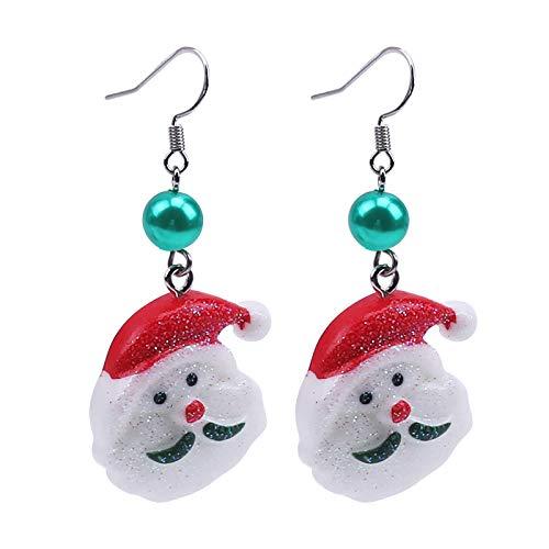 Richo 1 par de pendientes de Navidad, muñeco de nieve, cascabel, árbol de Navidad, Papá Noel, para mujeres y niñas.