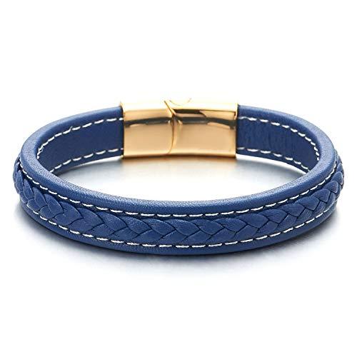 COOLSTEELANDBEYOND Herren Damen Blau Geflochtenes Leder Lederarmband Armband Armreif mit Weiß Stiche Gold Edelstahl Magnetisch Verschluss