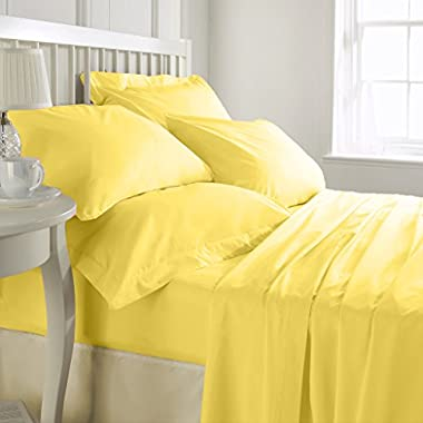SHEET SET Luxurious Super Percale 800 Thread Count Egyptian Cotton 4 Piece Sheet Set 15 inch drop Yellow Cal King By Kotton Culture Solid (1 Fitted Sheet 1 Flat Sheet 2 Pillow Cases)