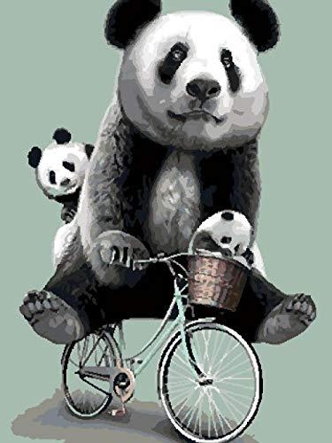 Adesiviamo 5D DIY pintura diamante kit Panda de bicicleta - taladro completo de punto de cruz de para adultos rhinestone bordado arte para decoración de la pared del hogar 30x40cm