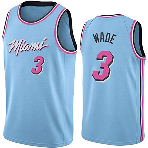 XZWQ Camiseta De La para Hombre, Miami Heat # 3 Wade Fan Jersey Chaleco De Baloncesto Camiseta De Baloncesto De Media Manga Transpirable Camiseta Retro,Azul,M