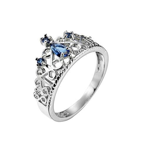 Beydodo Anillo Chapado en Plata Anillo Plata Compromiso Mujer Plata Corona con Pera Circonita Azul Talla 20