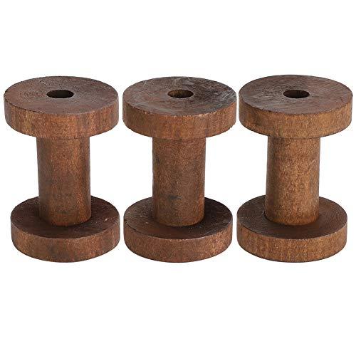 Bobinas de madera, 3 piezas Bobinas elegantes de color marrón oscuro para manualidades Herramientas de enhebrado de costura DIY Carretes de madera sin terminar Hilo Bobina Bobinas de alambre Bobinas d
