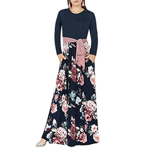 Auifor Casual Encaje de Flores Vestido de O-Cuello de la Manga Larga Impresa de la Mujer de la túnica Vestido Largo(Negro/Medium)