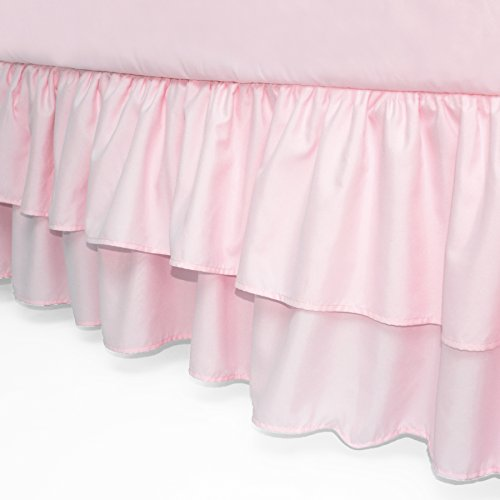 American Baby Company Double Layer Ruffled Crib Skirt, Pink, for Girls