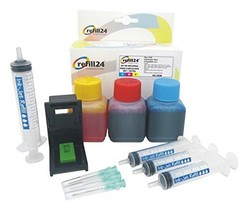 Kit di ricarica per cartucce d inchiostro HP 301, 301 XL a colori, con clip e accessori + 150 ml di inchiostro