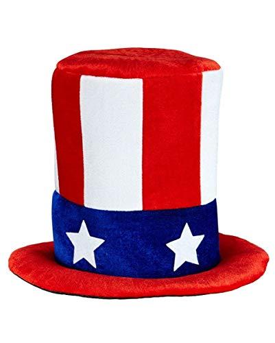 Horror-Shop USA Flagge Uncle Sam Amerika Zylinder für Fasching & USA-Partys