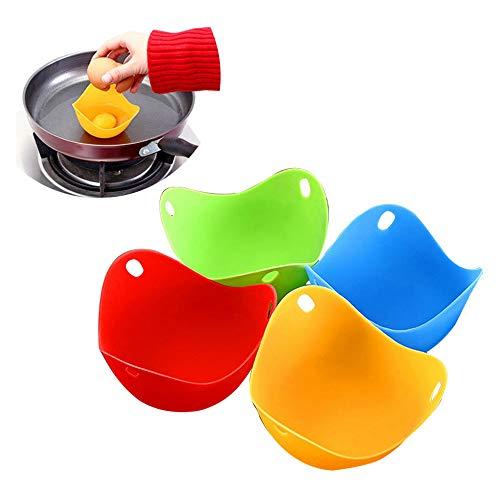 Lifemaison Silikon-Eierkocher zum Pochieren Ei Kocher Eier-Pochierer für Eierpfanne, Kochgeschirr, Dampfkessel, Mikrowelle, Farbe Zufällig (4 Stück)
