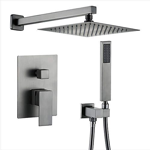 WPF JX Brushed Grau Duschsystem, In-Wand Zwei Funktionen Einhand Modern Platz Nickel Gebürstet, for Badezimmer Allmetall