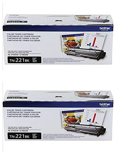 Brother Genuine TN221BK Color Laser Black Toner Cartridge 2-Pack